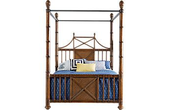 Cindy Crawford Home Key West Tobacco Canopy X 4 Pc Queen Bed