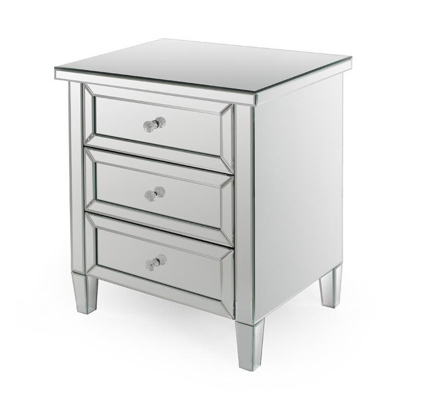 Silver Coffee Table New Zealand: Angeline Mirror 3 Dr Bedside / Side Table