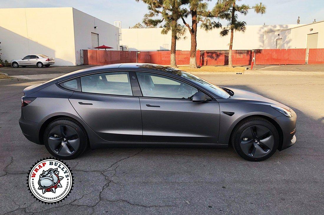 Tesla 3 Wrapped In 3m Matte Dark Grey Wrap Bullys Tesla Tesla