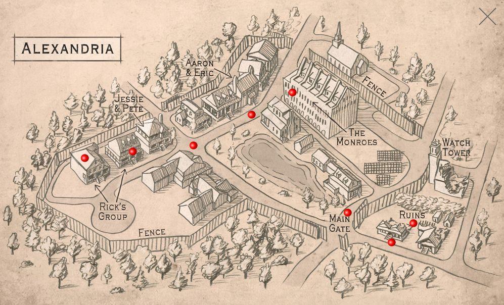 Mapa The Walking Dead.The Walking Dead Alexandria Map The Walking Dead