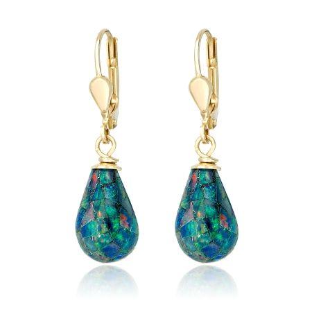 9ct Gold Opal long Teardrop earrings qVKsv0Eznh