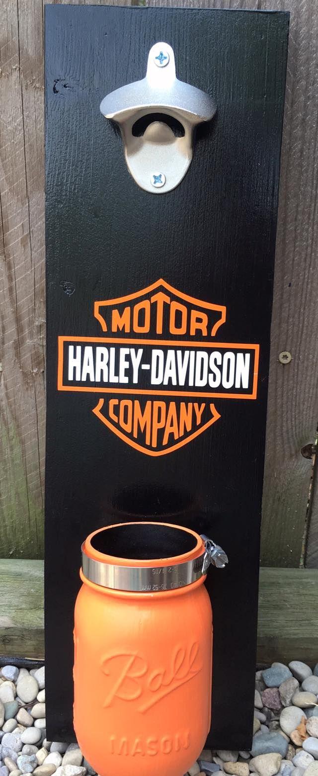 Harley Davidson wall mounted bottle opener with mason jar cap ...