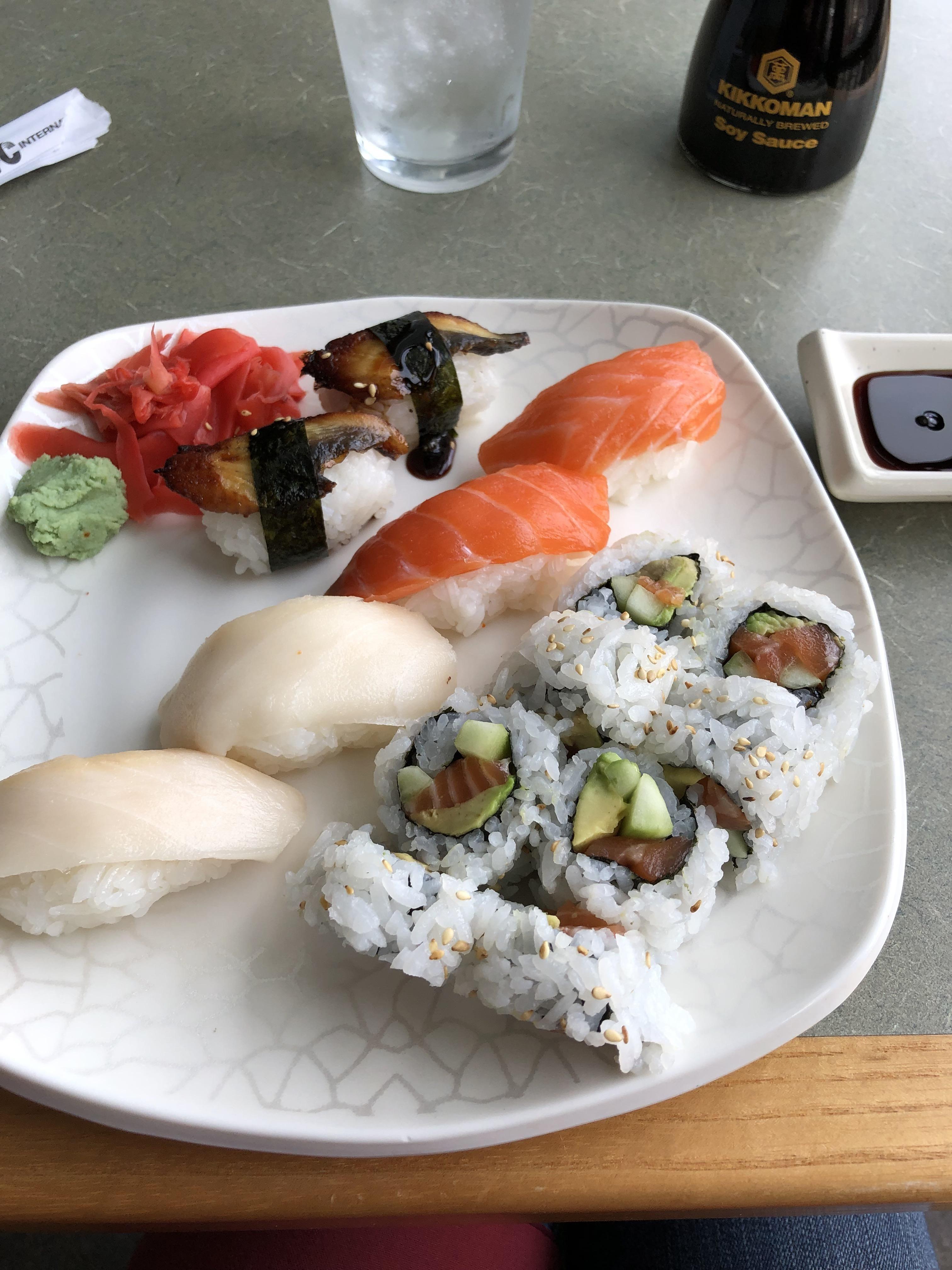 Nigiri and an Alaska roll in 2019 Food, Alaska roll
