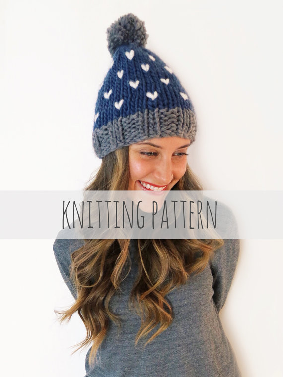 PATTERN for Chunky Soft Knit Hat Heart Beanie Pompom Ski Cap ...