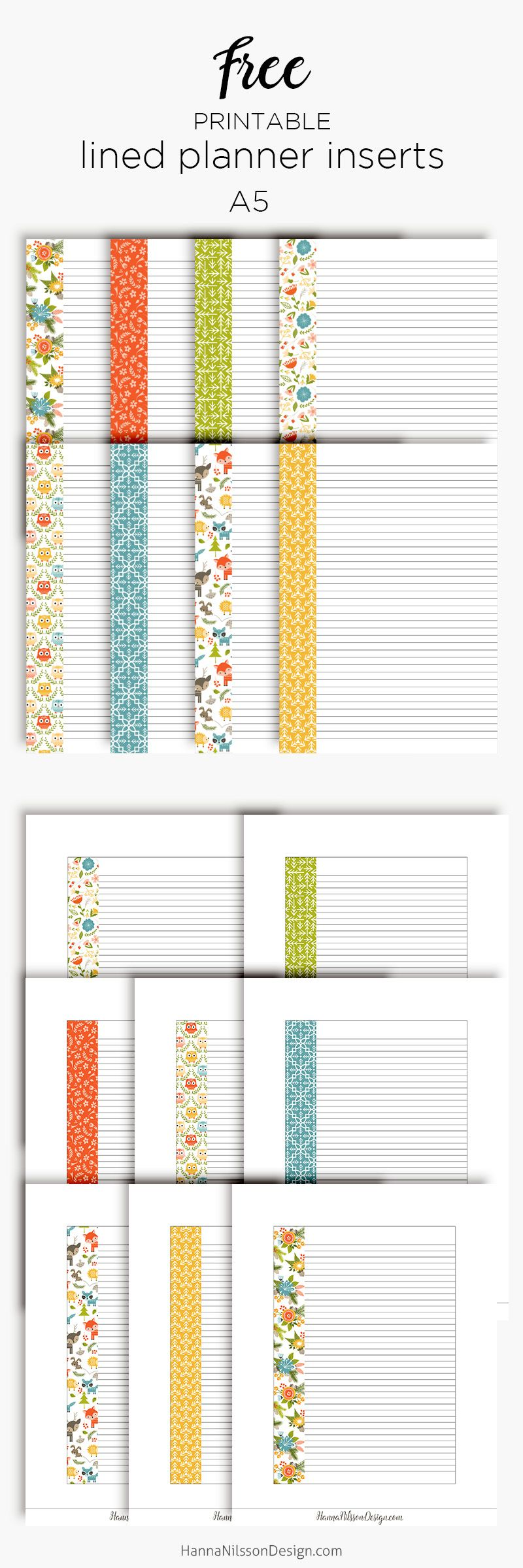 Lined planner inserts | Free printable download | Happy Planner | A5 ...