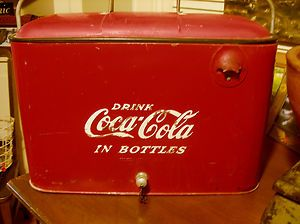 Coca Cola Picnic Cooler Vintage 1950s Red Metal Tray Made Louisville Kentucky