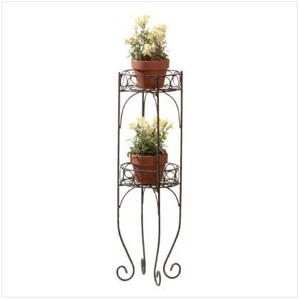 Item 28232 Two Tier Plant Rack Lacy Scrolls In A Verdigris Style