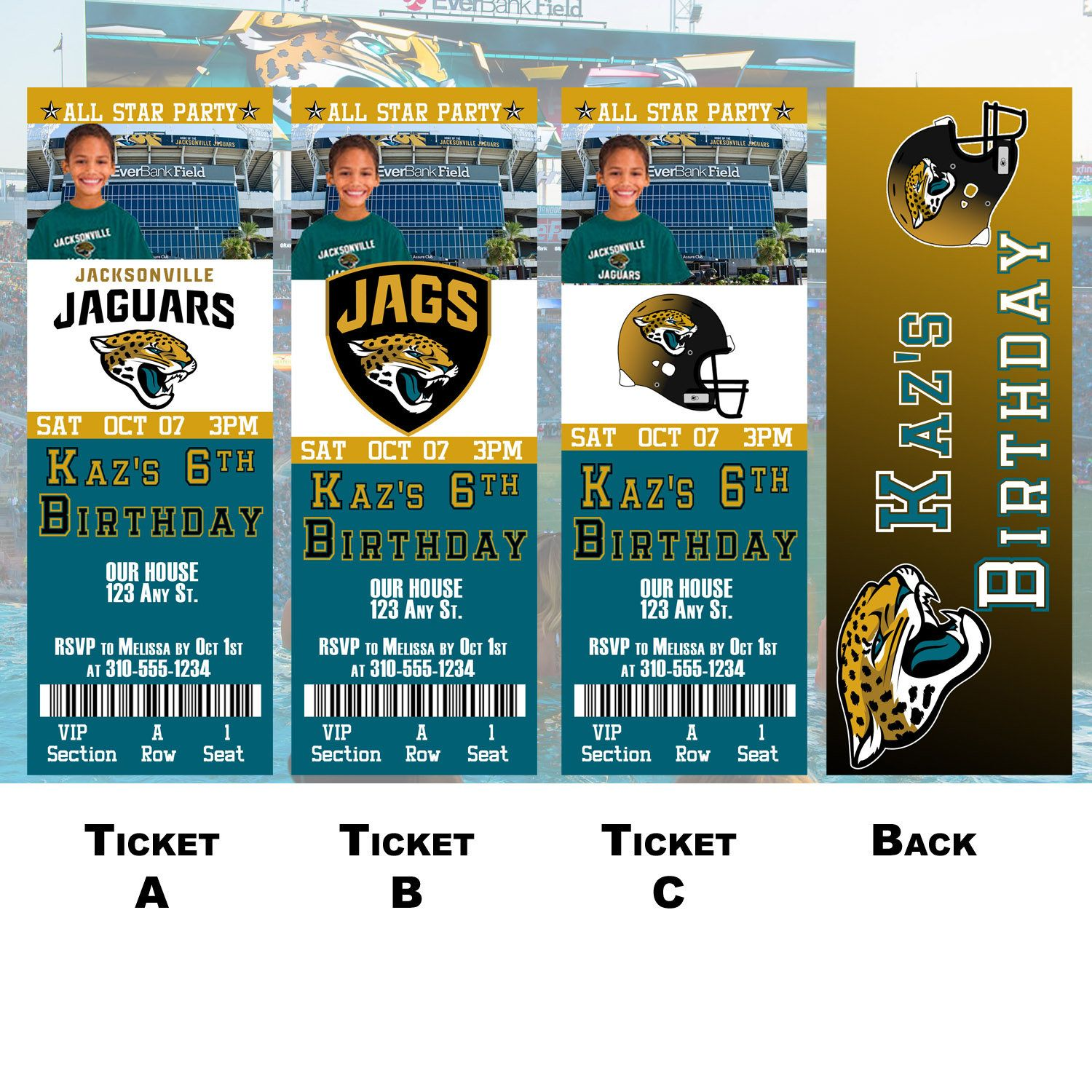 Top Jacksonville Jaguars Ticket Invitation by BoxPartyEvents on Etsy  hot sale