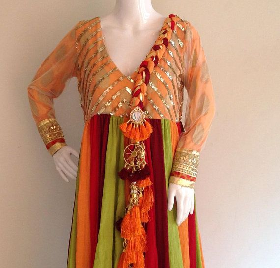 96 Fun Facts About Your Favorite Bridal Designers: Multihued Cotton Georgtte Anarkali With Braided Dupatta