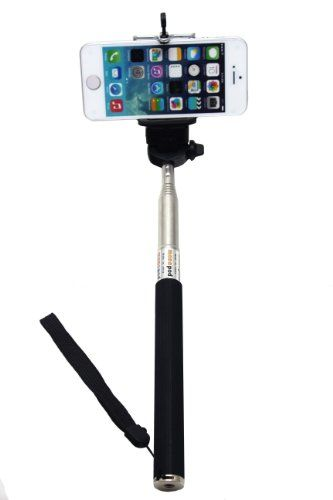 UFCIT(TM) Extendable Self Portrait Selfie Handheld Stick Monopod With Smartphone Adajustable Holder For iPhone Samsung Camera With 1/4 Inch Screw Hole (black)