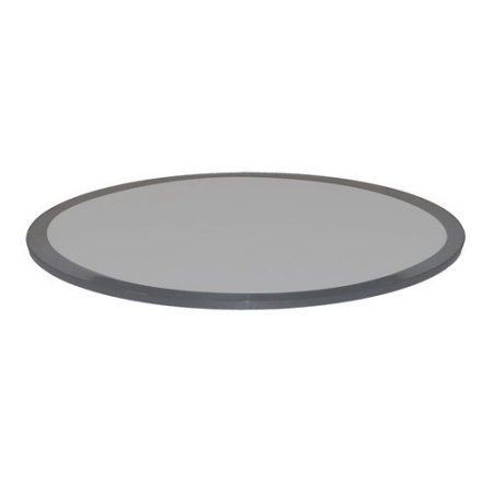 Grey Glass Table Top, 18 Inch Round 1/2 Inch Thick, Beveled Tempered