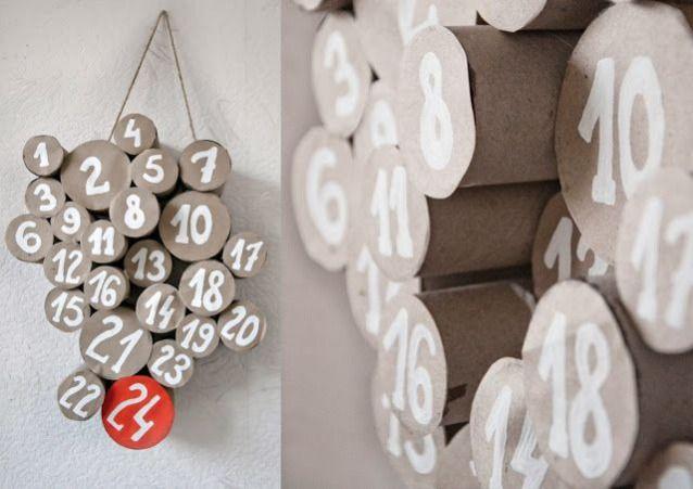 an idea for an Advent calendar made of toilet rolls - Idee creative per Calendari dell'Avvento fai da te   Design Fanpage