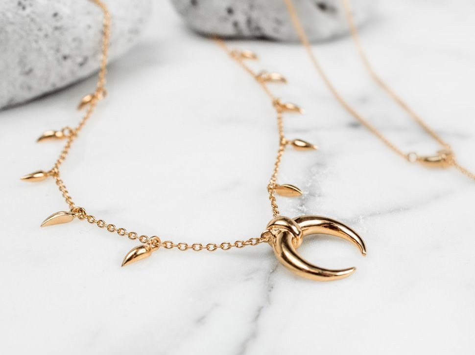 Gold Vermeil Mini Fang Large Horn Necklace View Missoma's stunning designer  jewellery collections, including engravable friendship bracelets, ...