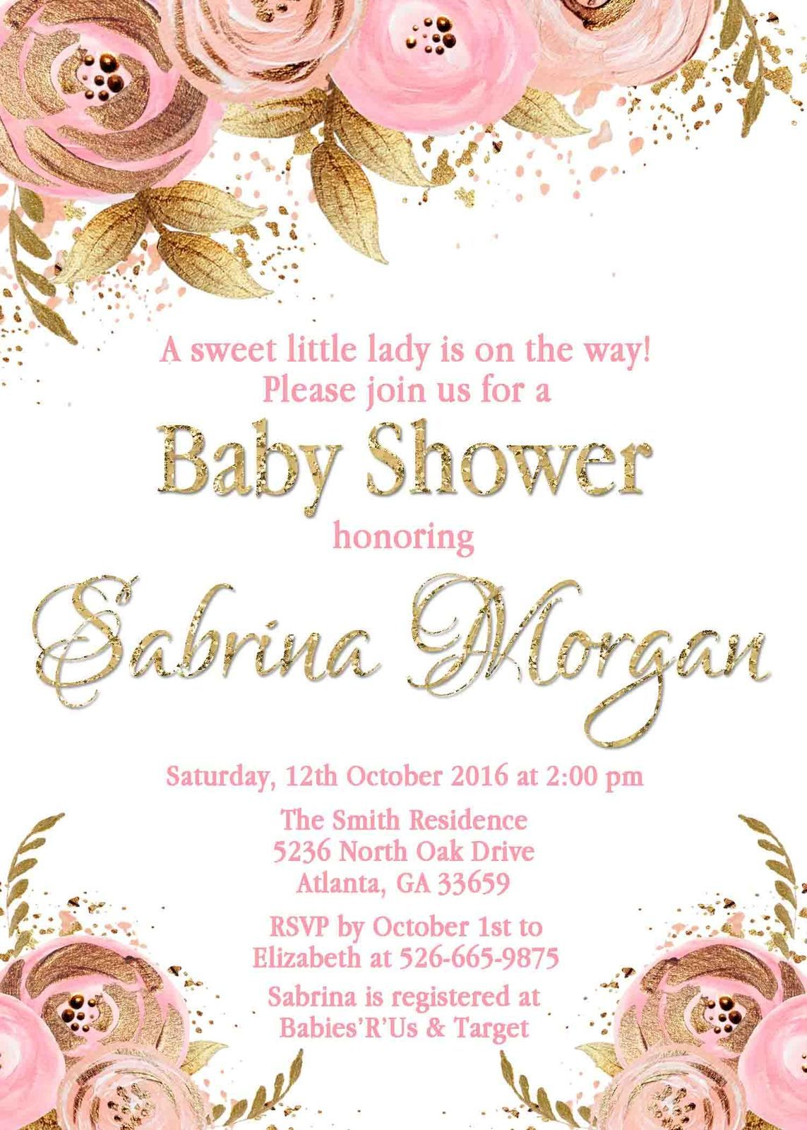 Floral Pink Gold Baby Shower Invitation Personalized Flowers Blush