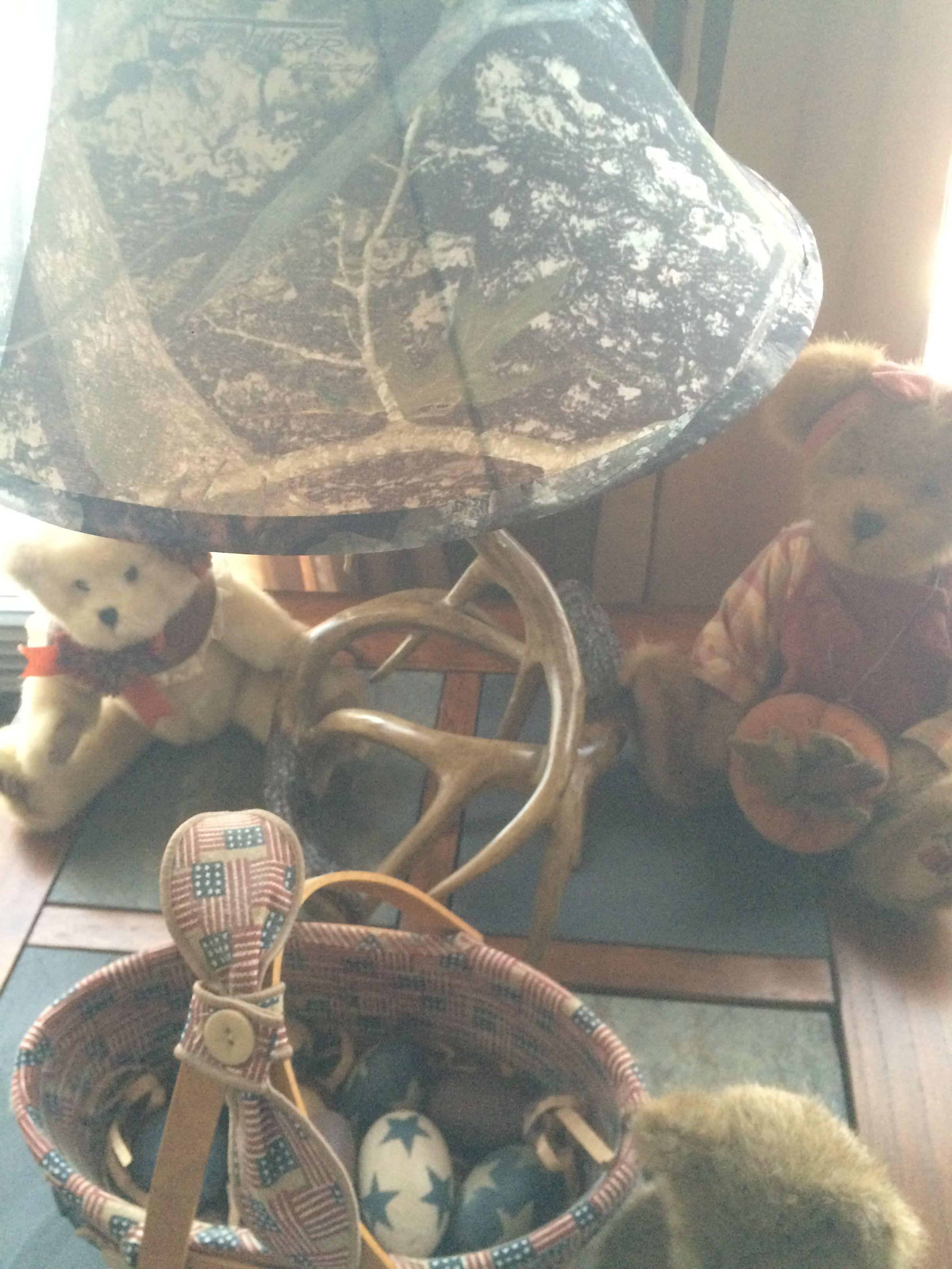Deer Antler Lamp with Camo Shade.. 😁 | Deer antler lamps ...