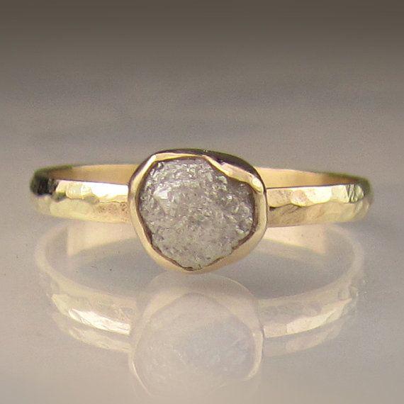 Raw White Diamond Engagement Ring