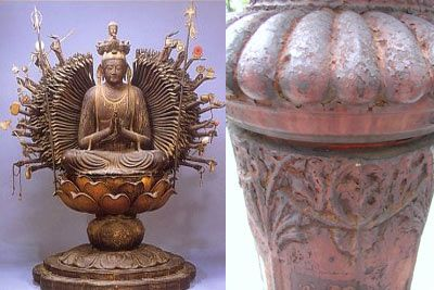 First you may want to read this previous post illustrating my conviction that the old New York City fire call boxes bear a strong resemblance to Japanese Buddhist sculptures of Kannon, Goddess of Mercy. Pictured above, another similarity. The lotus dais upon which Kannon (this one a thousand-armed incarnation) sits. Senju-Kannon, Fujii-dera, Osaka, left. Fire box, Brooklyn, right.