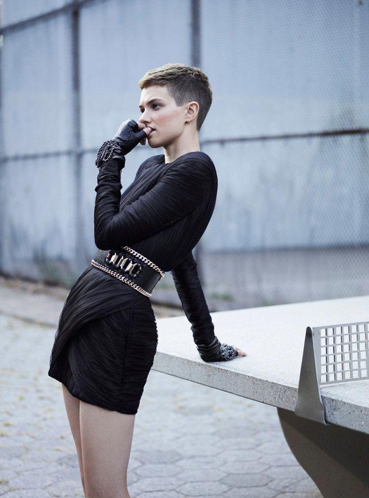 Photo of Harmony Boucher for Elle UK December 2013 by Thomas Whiteside #boyishpixiecut