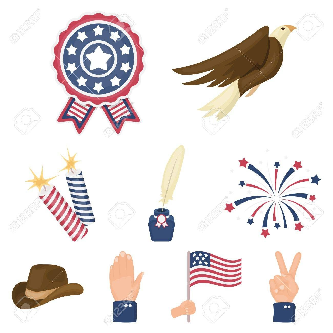 Patriot Day set icons in cartoon style Illustration