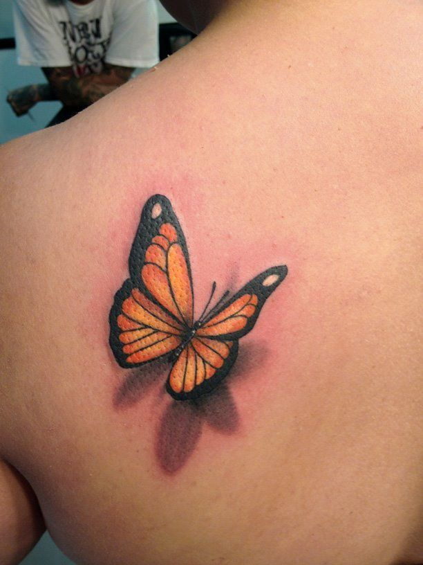 0e6d994dd 3D orange and black butterfly tattoo on back | Butterfly tattoo ...