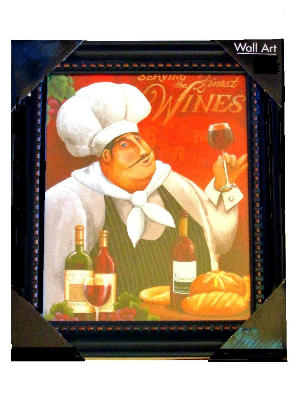 Fat French Chef Wine Kitchen Wall Art Framed Print 21 95 Fat Chefs Kitchen Decor Pinterest