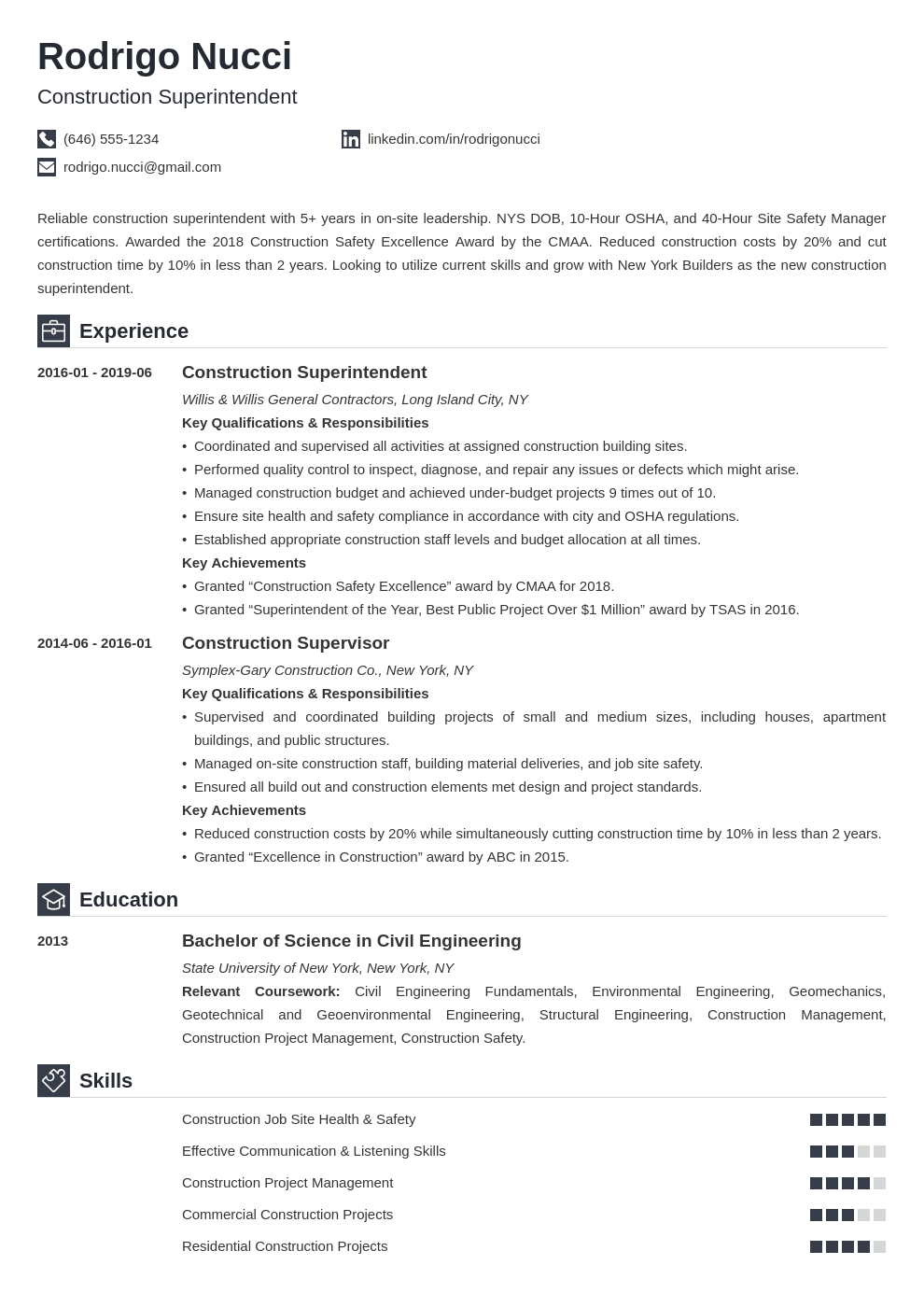 Construction Superintendent Resume Example Template Iconic Resume Examples Job Resume Examples Resume