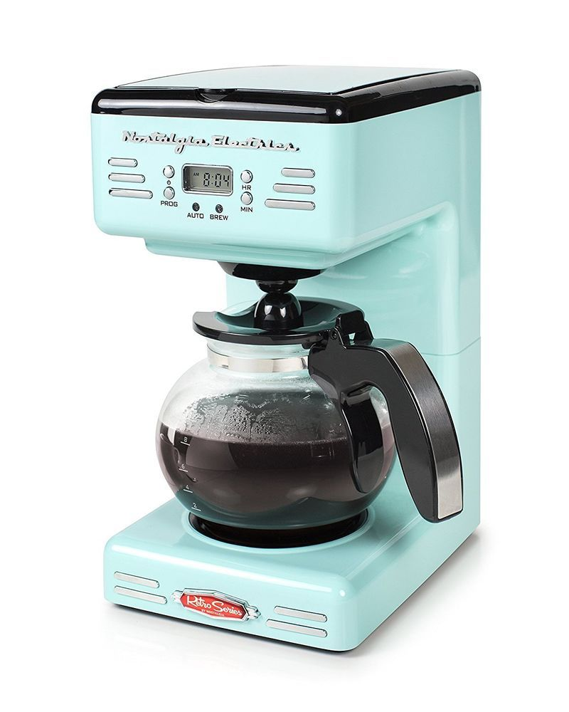Vintage Style Coffee Maker 12 Cup Programmable Aqua Blue Led Display Kitchen New Ebay Percolator Coffee Percolator Coffee Maker Italian Coffee Maker