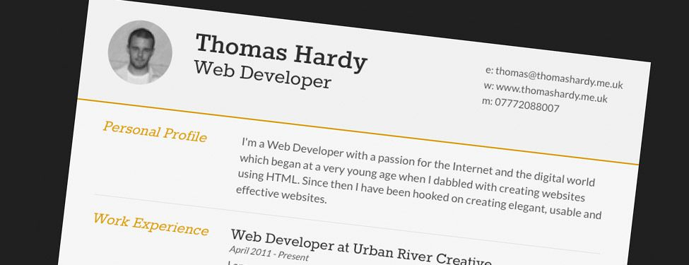 Free Responsive HTML\/CSS3 CV Template - resume UX Pinterest - web application developer resume