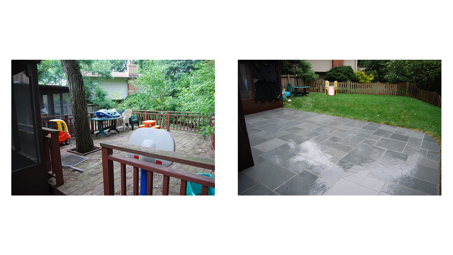 Mastic River Flagstone Patio Before u0026 After