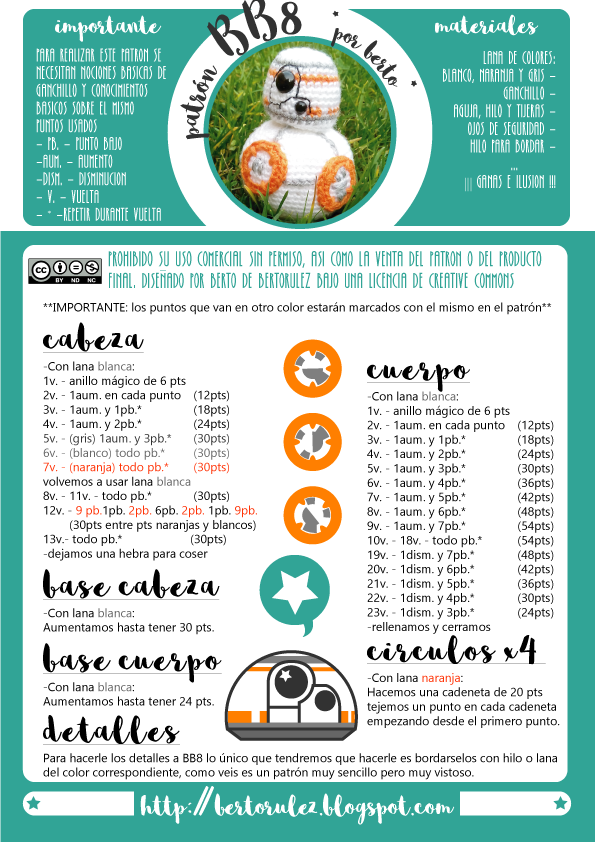 BB8 Star Wars + Patrón | Amigurumis crochet | Pinterest | Bb8 star ...
