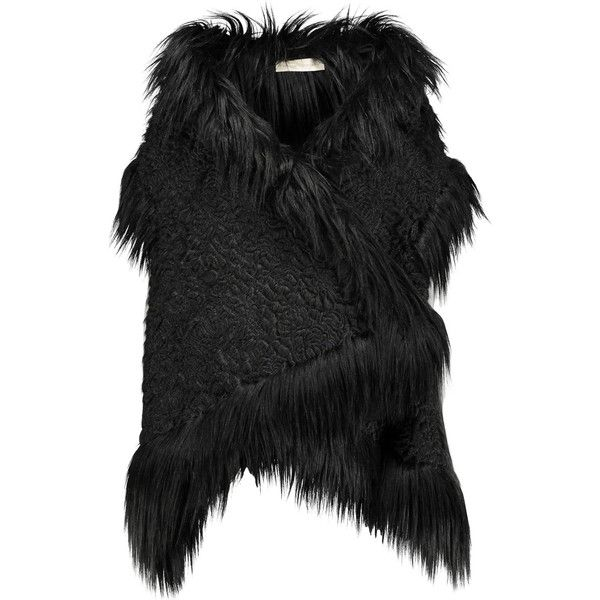 Stella McCartney Lynn oversized faux fur brocade vest ($780) ❤ liked on Polyvore featuring outerwear, vests, black, stella mccartney, faux fur vest, brocade waistcoat, fake fur vest and brocade vest