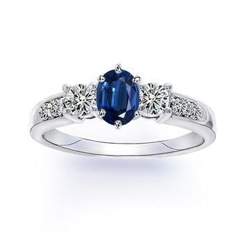 Angara Three Stone Blue Sapphire Ring in Platinum 6lnjmeG