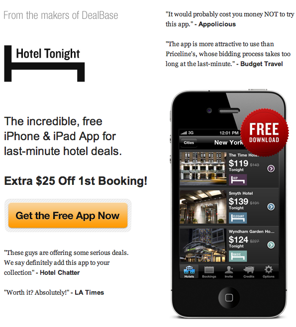 ANDROID too! 25 Hotel Tonight credit for signing up PLUS