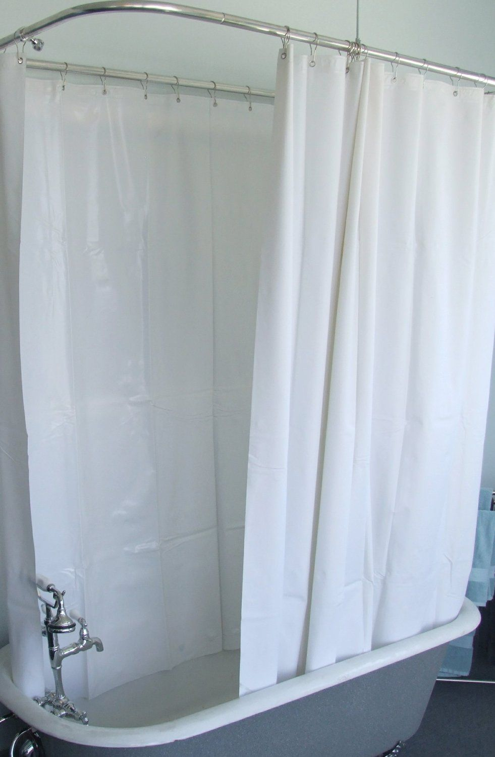 Amazonsmile extra wide vinly shower curtain for a clawfoot tub