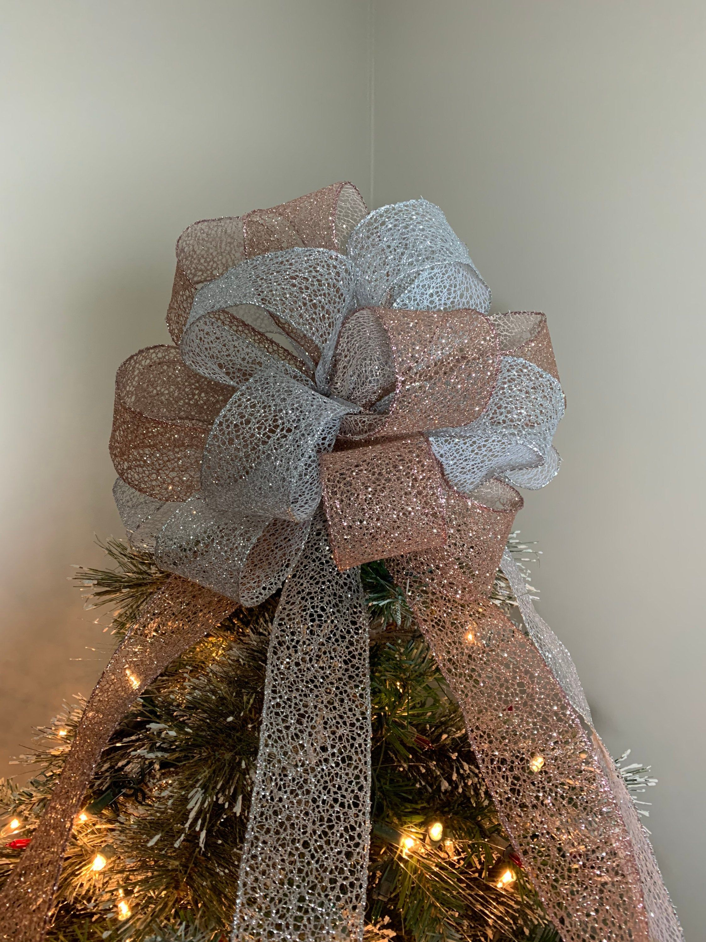 Large Silver And Blush Pink Glitter Lace Mesh Christmas Tree Etsy In 2020 Rose Gold Christmas Tree Christmas Tree Topper Bow Gold Christmas Tree Topper