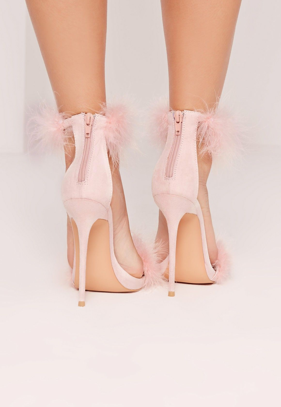 ae3c7c087690 Double Feather Strap Barely There Heels Pink - Missguided
