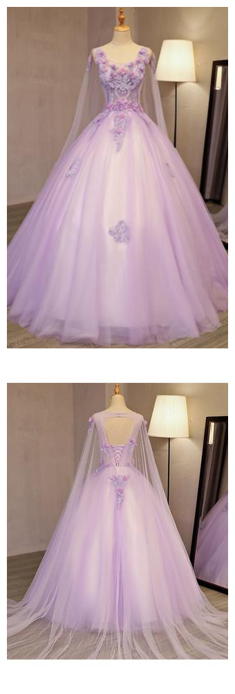 459b9b5e2f Unique Lilac Tulle Long Ball Gown Evening Dress With Flowers