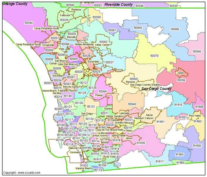San Diego by Zip Code | San Diego Zip Codes Post Office ...