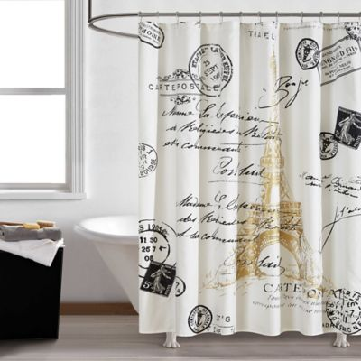 paris gold 72 square shower curtain