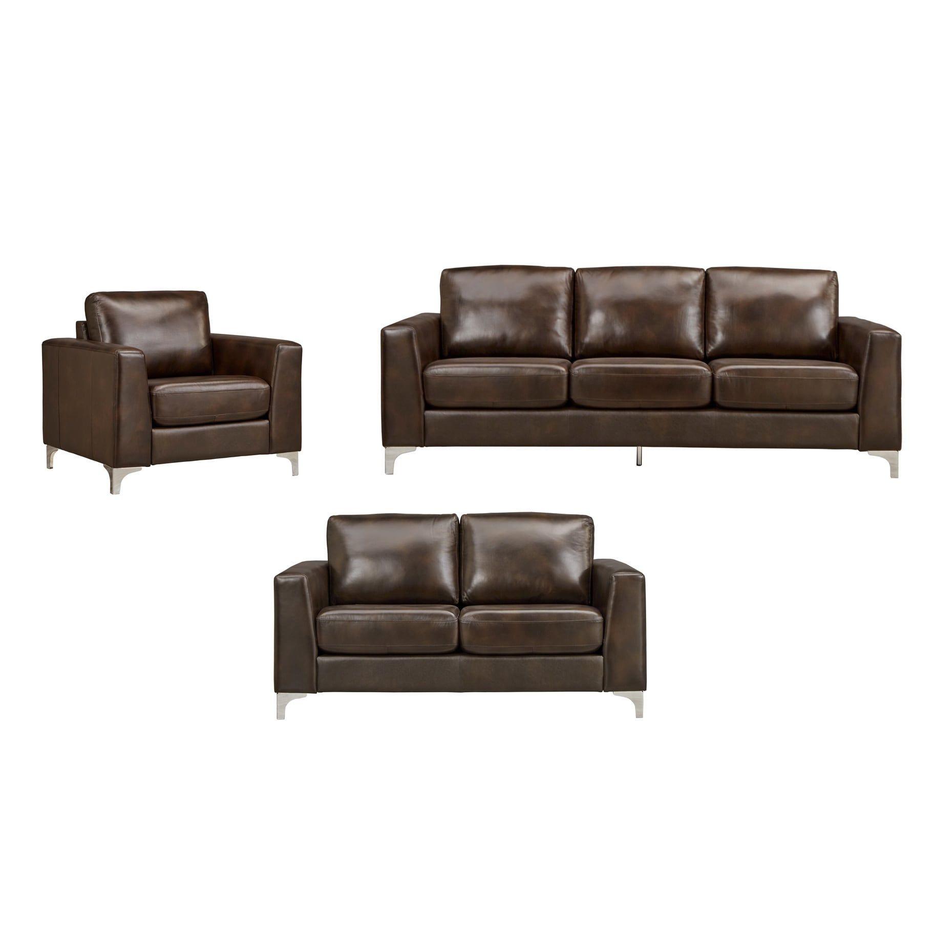 Bastian Aniline Leather Dark Brown Sofa iNSPIRE Q Modern (Loveseat ...