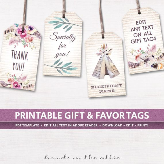 Editable boho tags gifts favors printable template labels ...