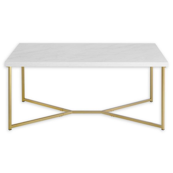 Forest Gate 42 Joan Modern Glam Coffee Table In Faux Marble Gold