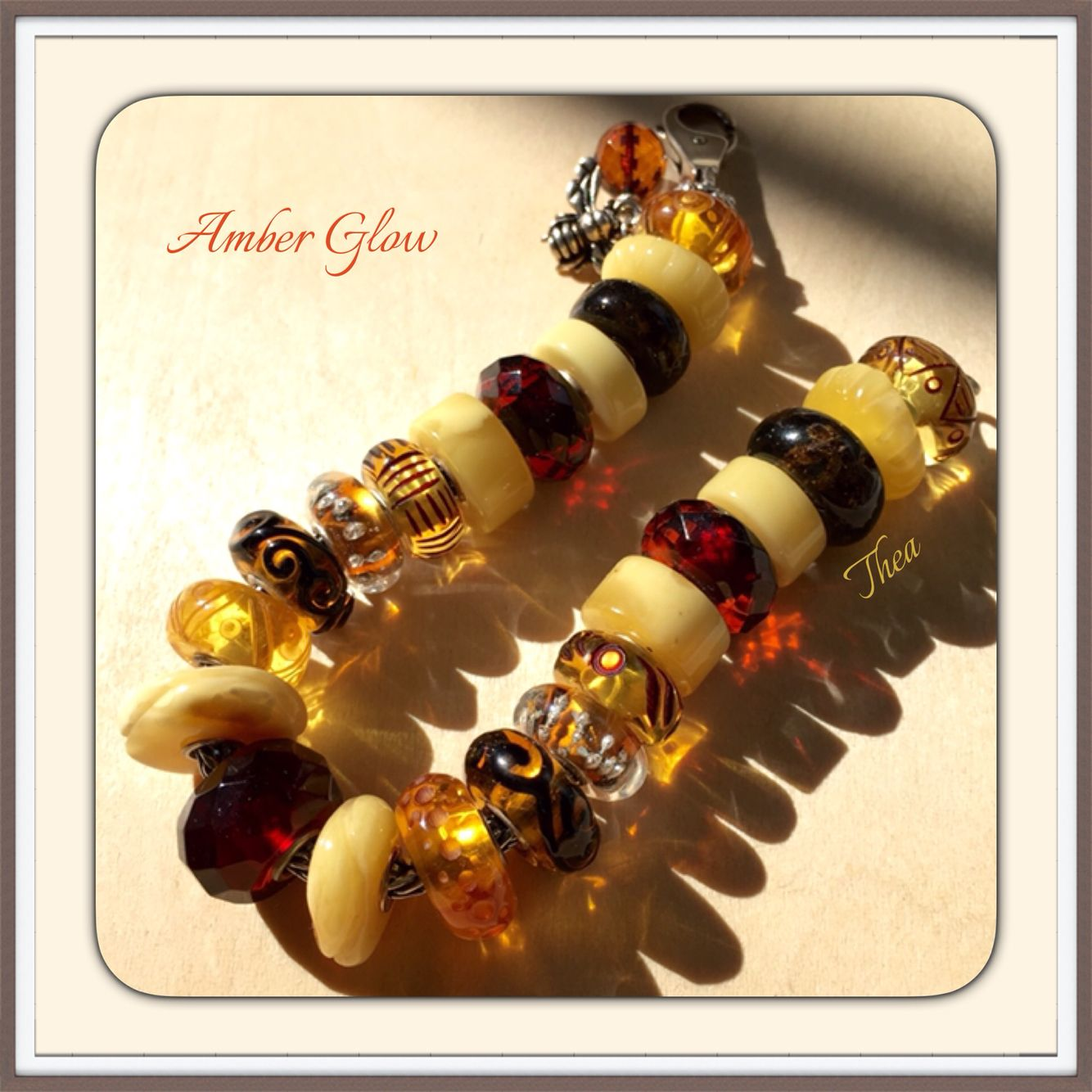 Amber glow. Trollbeads inspiration. Amber bracelets with Amber colored ooaks or unique beads.