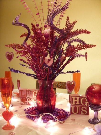 Pink purple and red centerpiece valentine s day