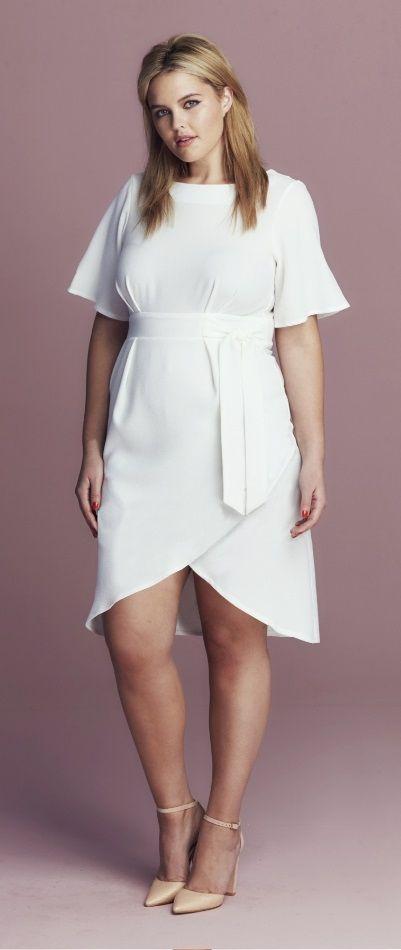Plus Size Tie Wrap Dress in 2019 | Plus size outfits, Curvy ...