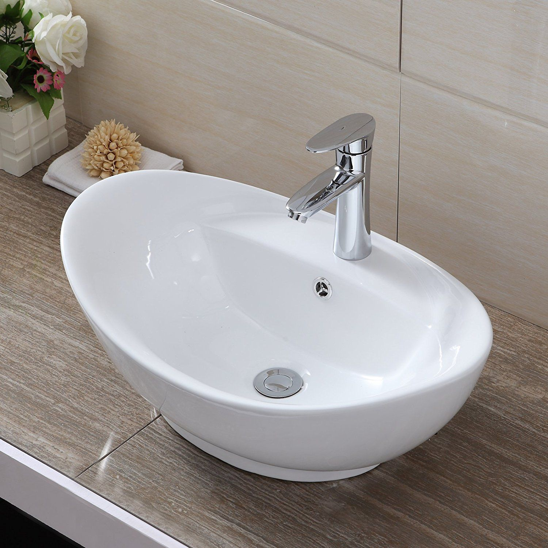 35 39cm 59cm UEnjoy Oval Counter Top Basin Sink Bowl Ceramic