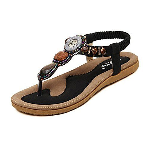 Fashion Brand Best Show Womens Elastic Tstrap Bohemia Beaded Flats Sandals  95 BM US Black    To view further for this item ad67f3b2c991