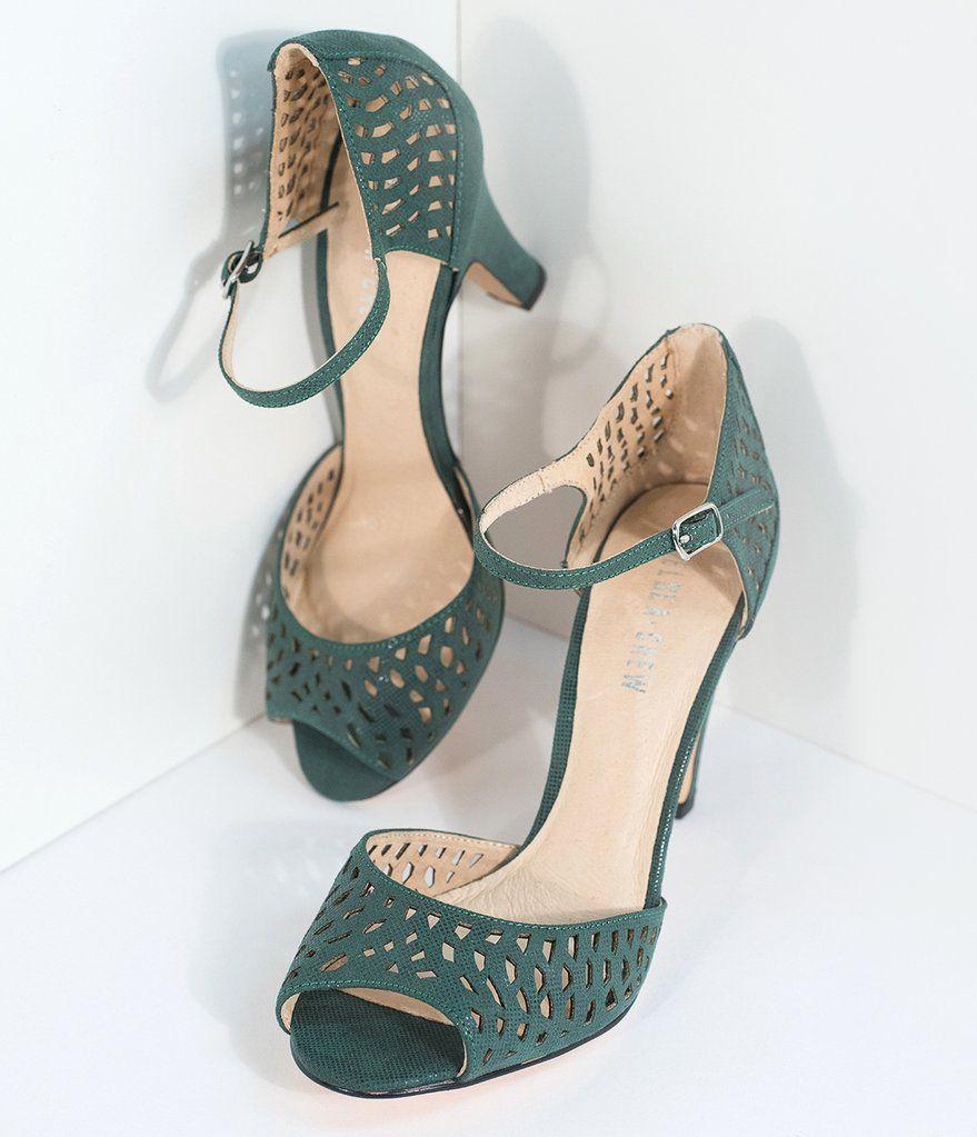 Emerald Green Peep Toe d'Orsay Liza