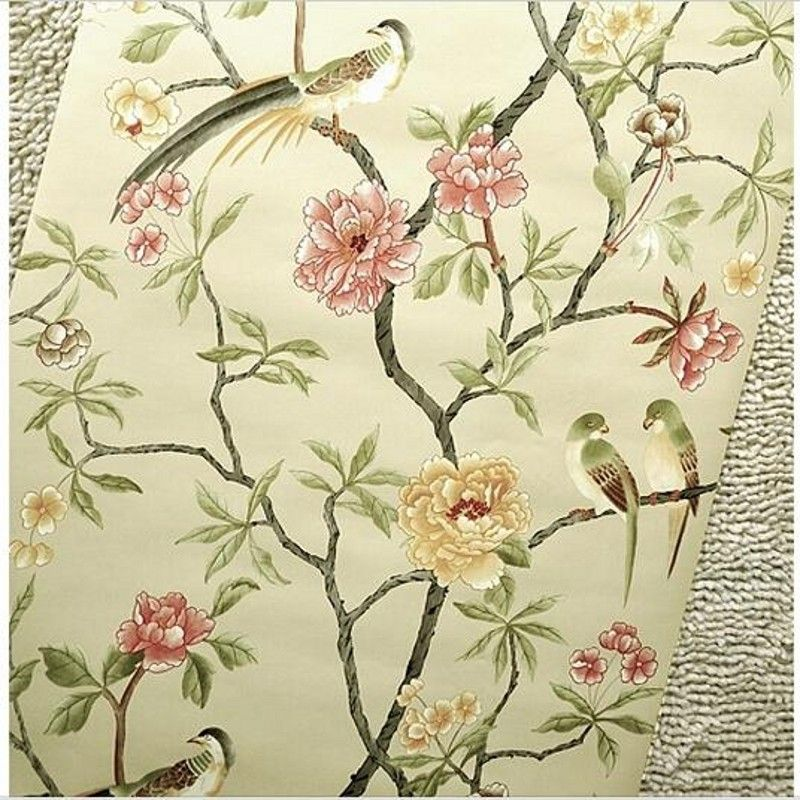 oiseaux arbre fleurs chinoiserie papier peint rouleau rof. Black Bedroom Furniture Sets. Home Design Ideas