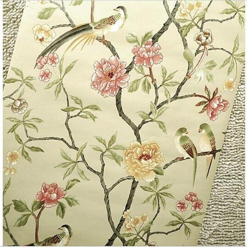 Gunstige Vogel Baum Blumen Chinoiserie Tapete Rolle Rof Rollen